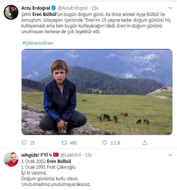 Türkiye halk düşmanı teröristlerin öldürdüğü 15 yaşındaki Eren Bülbül'ün mesajını konuştu.