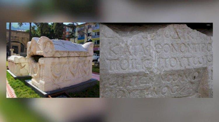 Amasya'da bulunan lahitte beddua içeren bir Grekçe bir yazı bulundu
