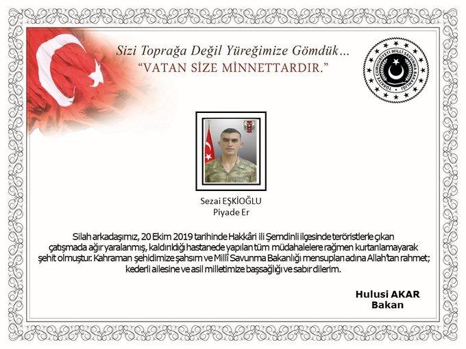 MSB: Fırat'ın doğusunda bir asker şehit oldu